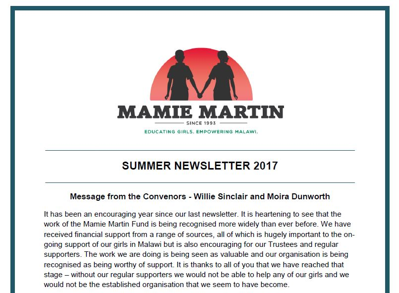 Mamie Martin Newsletter Summer 2017
