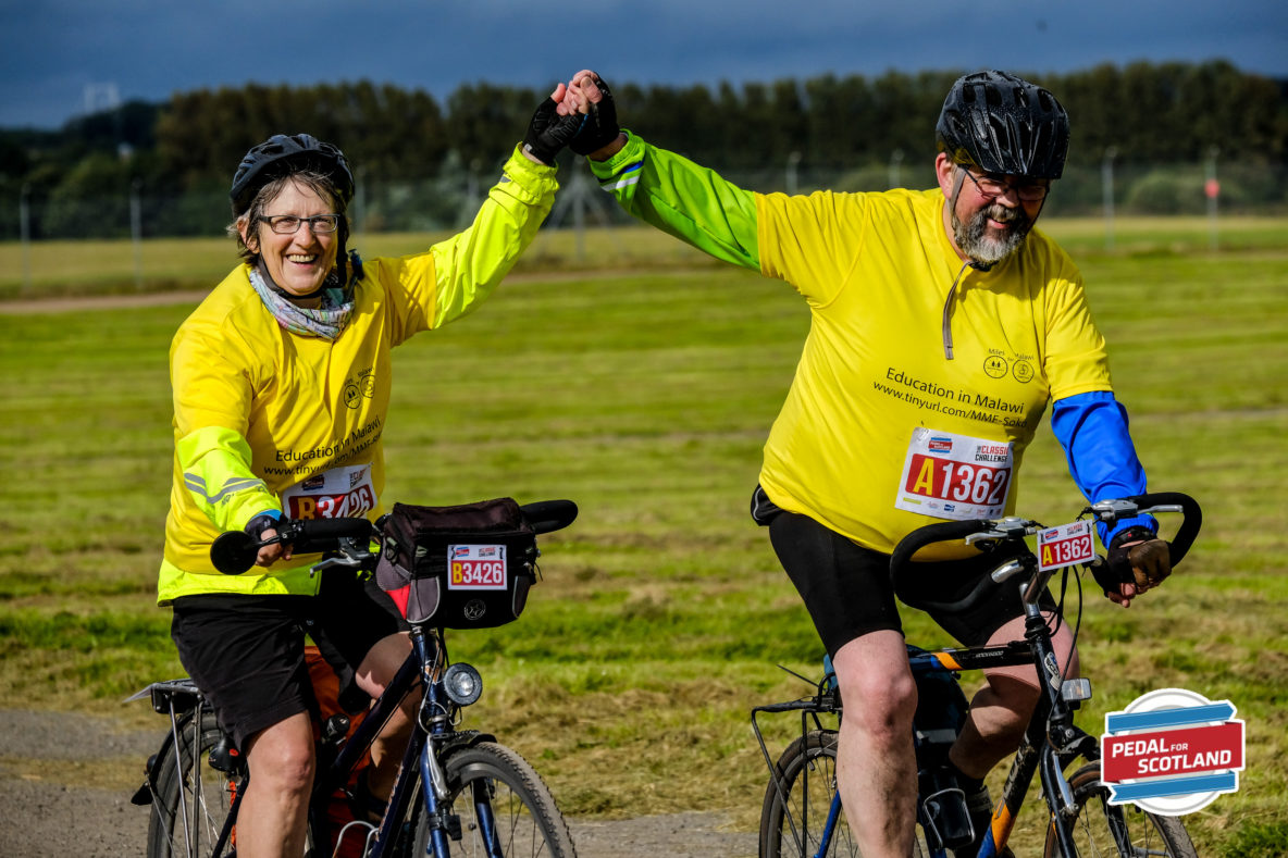 Trustees Moira and Willie on their bicycles